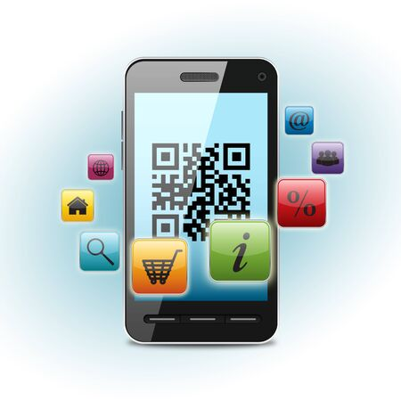 qr code on smartphone screen over light background Stock Photo