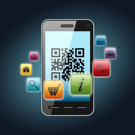 web marketing: qr code on smartphone screen over dark background Stock Photo