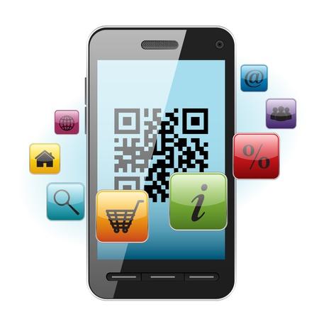 phone money: QR-Code en la pantalla del tel�fono m�vil con diferentes iconos