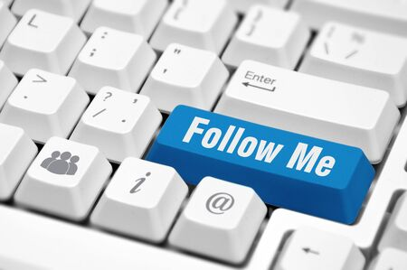 follow me: Follow Me button on the key of a computer keyboard