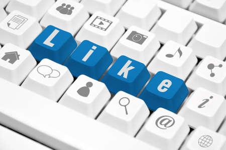 Like text on  keyboard  Social media concept Stock Photo - 13219507