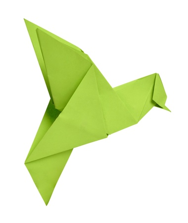origami bird: Paper origami humming-bird over white background