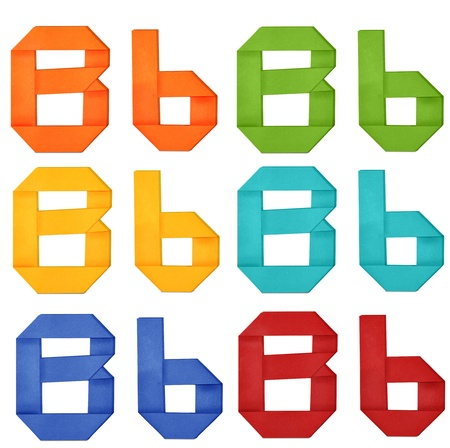 Set of capital letter and lowercase letter  B  in various color  Origami alphabet  letter  on white background  photo