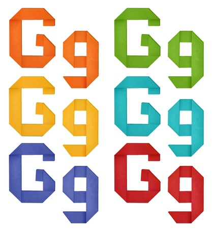Set of capital letter and lowercase letter  G  in various color  Origami alphabet  letter  on white background  photo