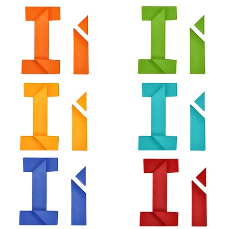 Set of capital letter and lowercase letter  I  in various color  Origami alphabet  letter  on white background  photo
