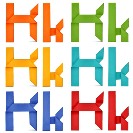 Set of capital letter and lowercase letter  K  in various color  Origami alphabet  letter  on white background  photo