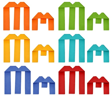 Set of capital letter and lowercase letter  M  in various color  Origami alphabet  letter  on white background  photo