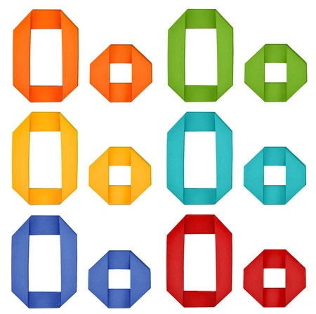 Set of capital letter and lowercase letter  O  in various color  Origami alphabet  letter  on white background  photo