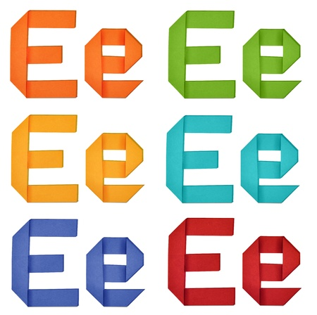 Set of capital letter and lowercase letter E in various color. Origami alphabet  letter  on white background. photo
