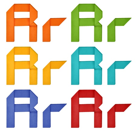 Set of capital letter and lowercase letter in various color. Origami alphabet  letter  on white background. photo