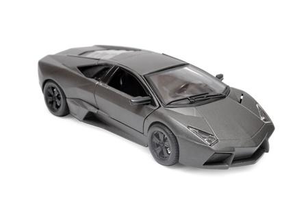 Grey toy car isolated on white background photo