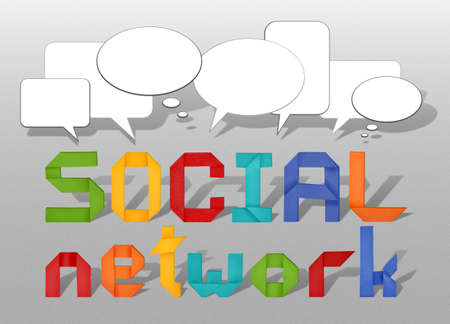social network concept illustration with origami letters and  speech bubble illustration