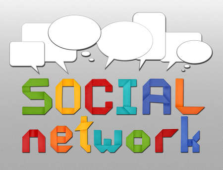 social network concept illustration with origami letters and with speech bubbles illustration