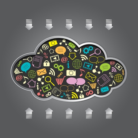 cloud computing with apps over gray background