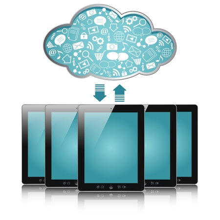 a tablet computers with blue clouds, cloud computing, tablet pc Vector
