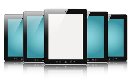 Row of digital touch screen devices with blank screen isolated on white