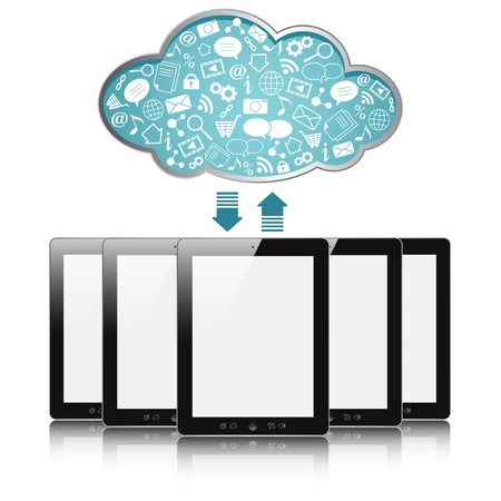 computer screen data: a tablet computers with blue clouds, cloud computing, tablet pc