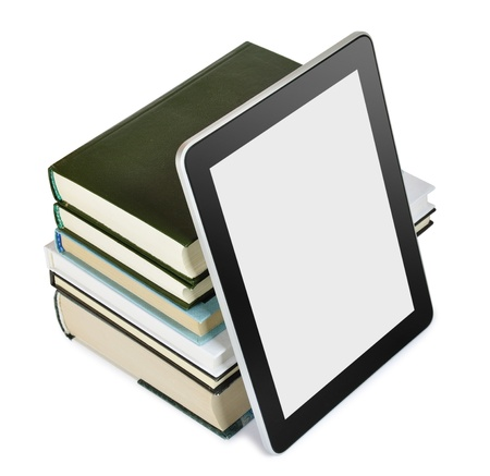 bookshelf digital: a tablet pc with books isolated on white  Education concept Stock Photo