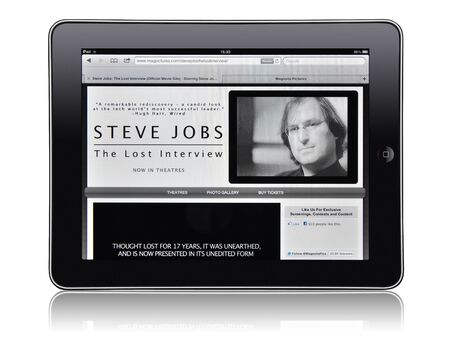 ipad2: KIEV, UKRAINE - MAY 21, 2012: Apple iPad device, showing the Steve Jobs. Lost interview official movie site. That documentary film will be released in cinemas on May, 25th 2012.