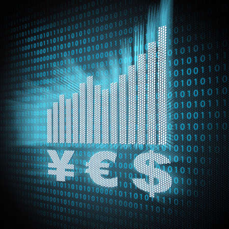 currency symbols and chart on lcd screen close up  E-commerce concept Stock Photo - 13761720