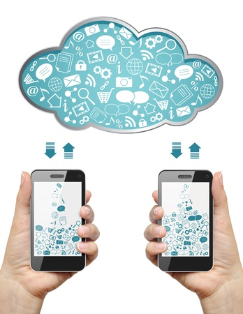 smartphone apps: Mobile phones in female hands download information from cloud isolated on white  Cloud computing concept