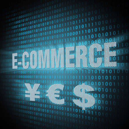 E-commerce sign on lcd screen close up  Concept illustration  Stock Illustration - 13761723