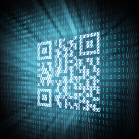 up code: Pixeled QR code on lcd screen close up  Concept illustration