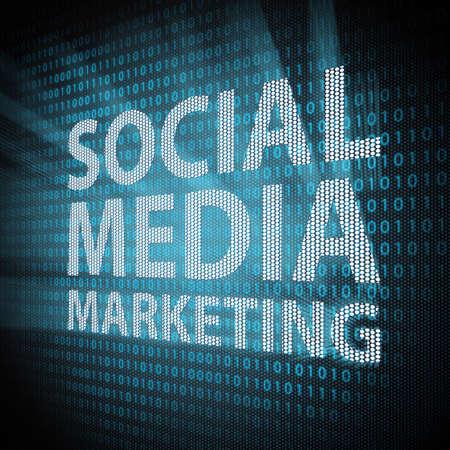 social net: Social Media Marketing sign on lcd screen close up  Concept illustration  Stock Photo