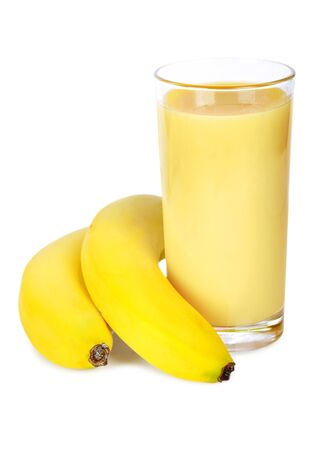 Banana smoothie inl glass on white background