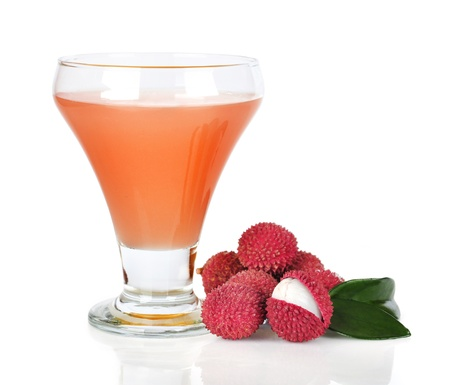 lychee: Lychee juice with lychees isolated on white background Stock Photo