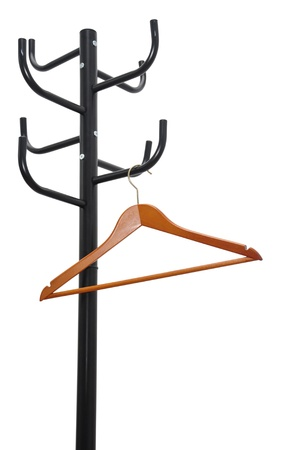 Black coat rack with empty coat hanger isolated on white photo