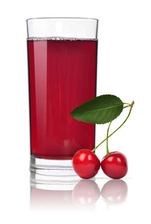 Glass of sweet cherry juice isolated on white photo