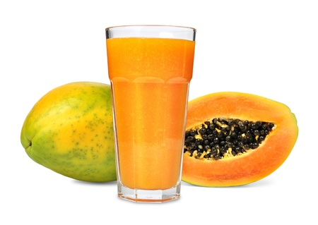 Glass of papaya juice isolated photo