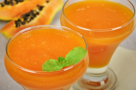 sallow: Fresh blended papaya juice with a mint leaf closeup. Sallow dof