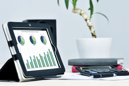Modern business workplace with digital tablet, calculator, pen  photo