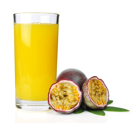 passion fruit with fresh juice isolated on white background close-up Stock Photo