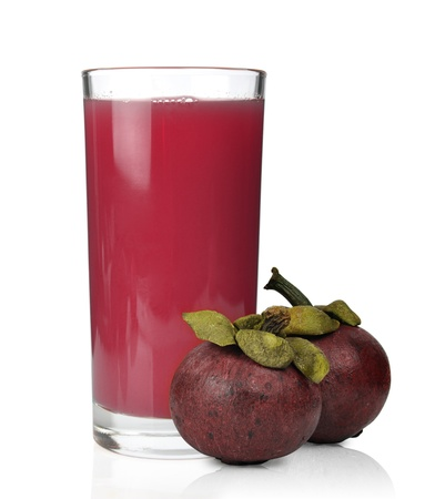 mangostano: frutto del mangostano fresca e succhi di frutta, isolato, su, bianco