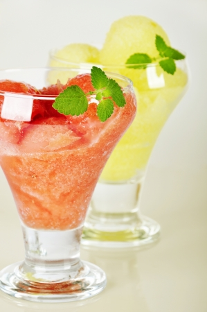 Melon and watermelon sorbet  in glass  ice-cream bowl  photo