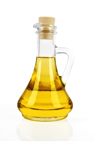 oilcan: bottle of sun flower oil isolated on white background
