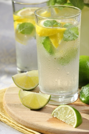 Cold lemonade in glass with ice, lime and lemon on cutting board photo