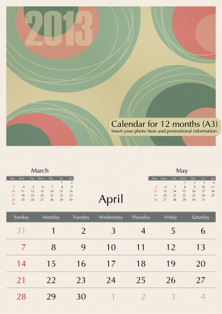 April. 2013 Calendar. Optima fonts used. A3 Vector