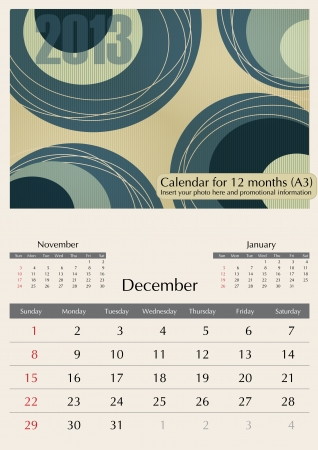a3: December. 2013 Calendar. Optima fonts used. A3