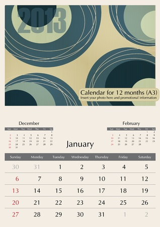 January. 2013 Calendar. Optima fonts used. A3 Vector