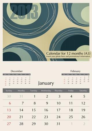 January. 2013 Calendar. Optima fonts used. A3 Stock Vector - 15824334