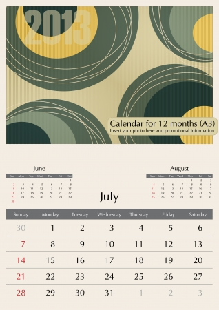 a3: July. 2013 Calendar. Optima fonts used. A3