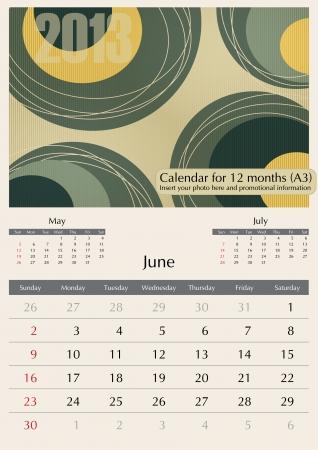 June. 2013 Calendar. Optima fonts used. A3 Stock Vector - 15824338