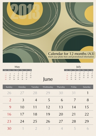 a3: June. 2013 Calendar. Optima fonts used. A3 Illustration