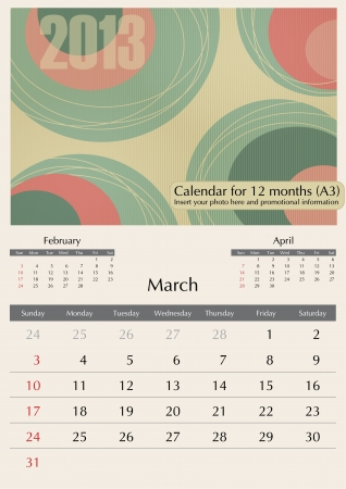 March. 2013 Calendar. Optima fonts used. A3 Stock Vector - 15824305