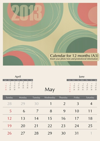May. 2013 Calendar. Optima fonts used. A3 Vector