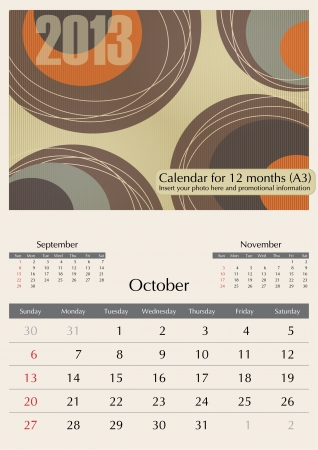 October. 2013 Calendar. Optima fonts used. A3 Stock Vector - 15824339